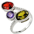 925 Sterling Silver Sideway 3 Stone Colorful & Clear CZ Wedding Ring Size 3-11