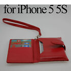 Leather Wallet Case Handbag Card Slot Holder Cover Glass SP For iPhone 5 5G 5S