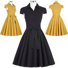 Retro Vintage 50's Cap Sleeve Shirt Style Stretchy Party Cocktail Prom TEA Dress
