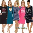 Ladies Long Sleeve Night Shirt Nightdress Nightie Nightshirt PJ  NEW DESIGNS