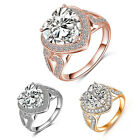 Women Fashion Heart Stone Rings Real Platinum Plated Sweet Luxury Ring Jewelry