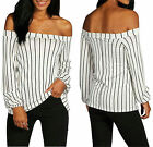 Womens Striped  Long Sleeve Off The Shoulder Blouse T-shirt Casual Peasant Tops