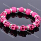 Multicolor Skull Head Gems Adjust Howlite Turquoise Crystal Spacer Bead Bracelet