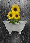 Yellow Gray Sunflower Bathroom Bedroom Wall Art Home Decor Matted Picture