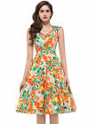 Many Floral Prints Rock Womens Dress Short Swing Cocktail Sleeveless Prom Dress
