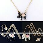 Fashion Elephant Enamel Heart Flower Crystal Rhinestone Vintage Copper Necklace