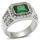 Men's New Silver Stainless Steel Synthetic Emerald Green Polished Ring Size 8-13