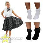 "BLACK POLKA DOT SKIRT SCARF BOBBIE SOCKS 1950'S ROCK N ROLL FANCY DRESS 26"" LONG"