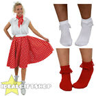 RED/WHITE POLKA DOT SKIRT SCARF BOBBIE SOCKS 1950'S ROCK N ROLL FANCY DRESS 26""