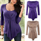 Sexy Womens Blouse Cotton Long Sleeve Ladies Top T shirt Loose Short Tops YG