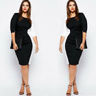 PLUS SIZE Womens Bodycon Pencil Evening Party Midi Dress S-5XL White + Black New