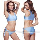 Womens Beach Push-up Bandage Sport Swimsuit Bra Bathing Bikini Swimwear Blue