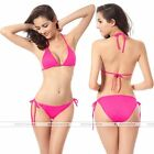Women Bikini Swimsuit Bathing Push-up Padded Halter Bandage Swimwear Bra Fuchsia