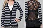 Gray/Black Stripe Full Lace Back Button Front Long Sleeve Cardigan Style Top