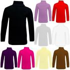 KIDS GIRLS POLO NECK T SHIRT RIBBED COTTON JUMPER LONG SLEEVE TOP AGE 2-13 YEARS