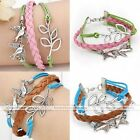 Silver Tone Double Birds Leaf Infinity Charm Braided Leather Suede Rope Bracelet