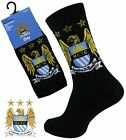 2 Boys MANCHESTER CITY Crest Badge FOOTBALL CLUB Soccer Team Socks UK 4-6