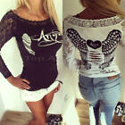 Sexy Women Slim Blouse Long Sleeve Lace Casual Shirt Crop Tops Hollow Clothes