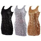 Women's Scoop Neck Sparkly Sequin Dress Party Club Mini Cocktail Evening Gown