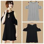 Stylish Women Strapless Lotus Sleeve Solid Knitting Casual Shirt Dress S-3XL