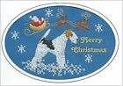 Fox Terrier Wirehaired  Christmas Card Embroidered by Dogmania
