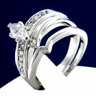 New Womens Engagement Wedding Bridal Band 0.80 CT CZ Solitaire 2 PC Ring Set