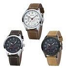 Perpetual Men Stainless Steel Faux Leather Strap Quartz Analog Wrist Watch NEW