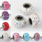 Czech Crystal European Large Big Hole Beads Fit Charms Bracelet Stainless Steel