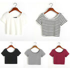 Unique Women Sexy Short Sleeve Crop Tops Yoga Casual Blouse Vest T-Shirt