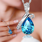Charm Lady Rhinestone Chain Crystal Waterdrop Necklace Pendant  Jewelry 8 Colors