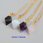 3Pcs Gold Plated Cap Pyramid Diamond Point Mixed Stone Necklace DIY NEW GG1003-N