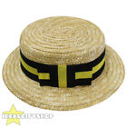 ADULTS STRAW BOATER HAT WITH BLACK AND YELLOW BAND RIBBON FANCY DRESS ACCESSORY