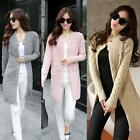 Womens Long Sleeve Warm Knitted Cardigan Loose Sweater Jacket Coat Outwear Tops