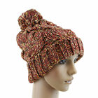 Girls Fashion Winter Hat Warmer Knit Cap Two Tone With Ponpon 7 Color USA Seller