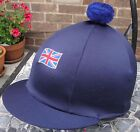 Lycra Riding Hat Silk Skull cap Cover NAVY BLUE * UNION JACK With OR w/o Pompom
