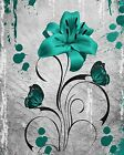 Turquoise Gray Flower Modern Wall Art Home Decor Matted Picture