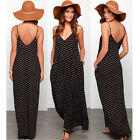 Womens Sexy Spaghetti Strap Chiffon Evening Party Beach Cocktail Long Maxi Dress