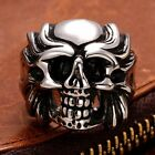 Maya Civilization Fashion Men's Punk Skull Biker Ring Jewelry Stainless Steel
