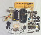 LOT OF VINTAGE SLOT CAR PARTS: COX CONTROLLER,  1 24 CAR,  CHASSIS,  TRACK CLIPS,  +