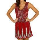 Sequin Beaded Chiffon Flapper Designer Evening Party Dress Womens Size  Womens