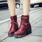 Womens Buckle Strap Lace Up Gothic Block High Heels Platform Ankle Boots Size