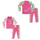 Cute Girls UPF 50+ Flower Butterfly Swimwear Sunblock Long Sleeve Swimsuit 3-10Y