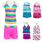 Girls Two Piece Halter Bathing Swimwear Stripe Rainbow Swimming Costume 8-16Y