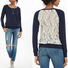 Womens Long Sleeve Shirt Casual Lace Blouse Loose Cotton Tops T Shirt NEW