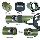 7 in1 Outdoor Survival Whistle Compass Thermometer Magnifier LED Flashlight Fire