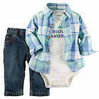 "Carters 3 Months ""Handsome"" Shirt Jeans Bodysuit Set Baby Boy Clothes"