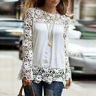 Floral Women Lace Long Sleeve Chiffon Tops Embroidery Casual Shirt Blouse S-5XL