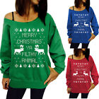 Women Lady Christmas Tree Santa Deer Sweater Jersey Pullover Hoody Shirt Clothes