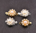 1-10 Sets Crystal Rhinestone Pearl Flower Box Clasp for Bracelets Necklace 11MM