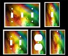 ABSTRACT RAINBOW WATER DROPS LIGHT SWITCH COVER PLATE